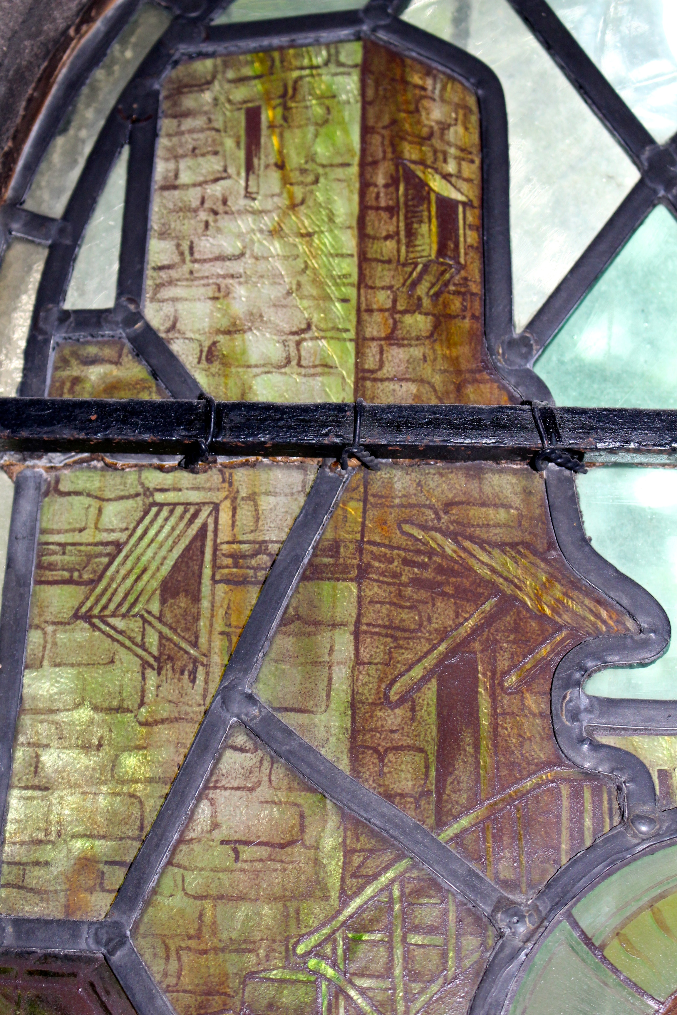 Church tower - detail in Shrigley and Hunt window